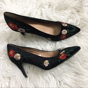 A new day embroidered velvet heels